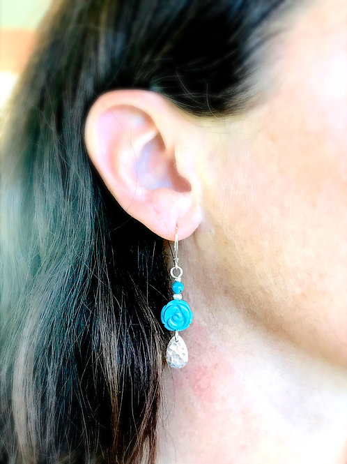 Carved Turquoise Drop Earrings