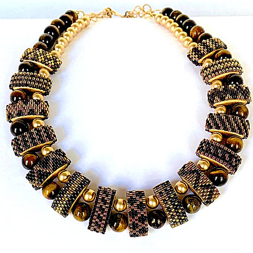 Tigers Eye and 14k g.f. Carrier Bead Necklace