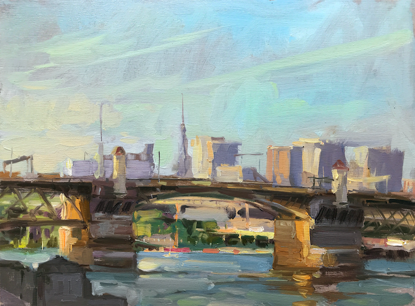 A painting of the Burnside Bridge