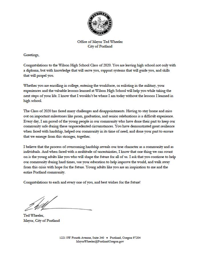Mayor to grads from Portland Mayor Ted Wheeler