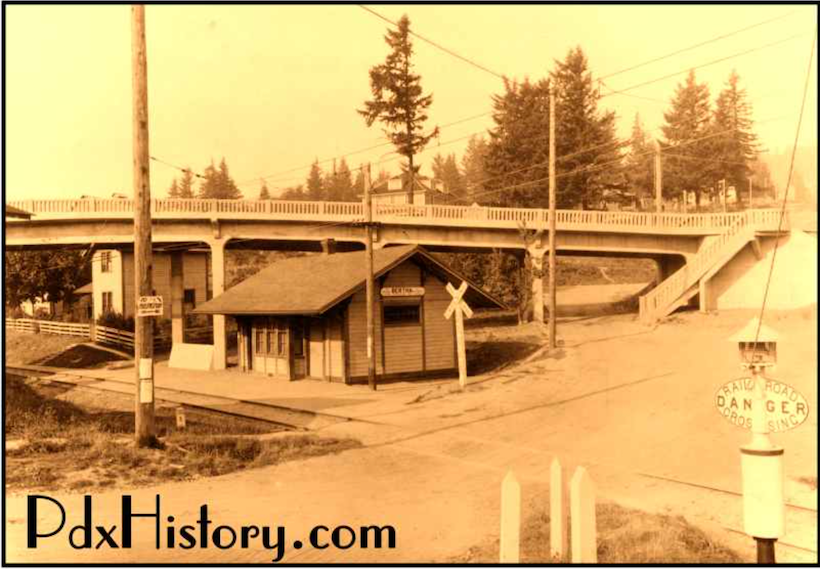 Historical photo showing Red Electric tracks cutting under Capitol Hwy in Hillsdale.