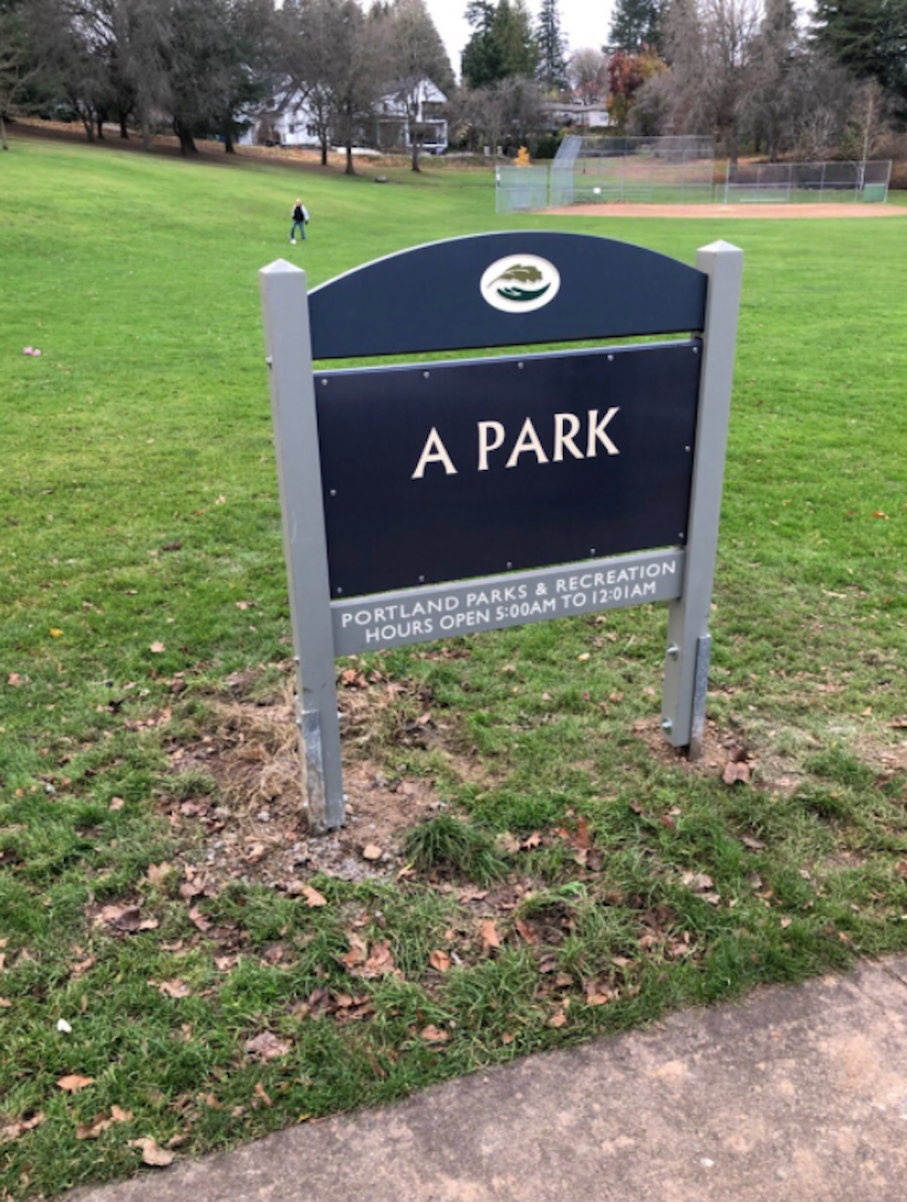 """a photo of the new sign designating the park as """"A Park"""""""