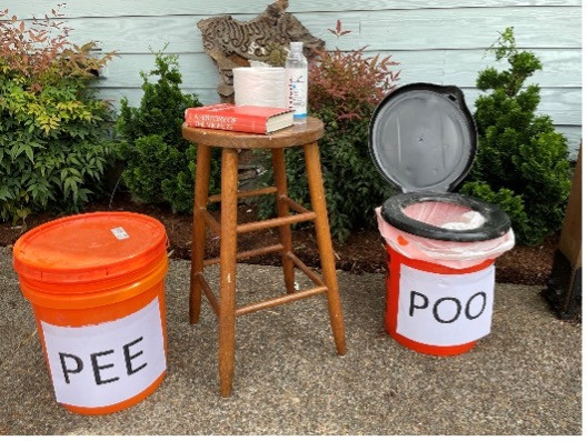 """a photo illustratiing the two-bucket system: a bucket labeled """"pee,"""" a bucket labeled """"poo,"""" a book, toilet paper, and bottled water."""