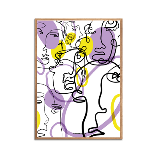 One-Line / Lovely Strokes, Purple &Yellow