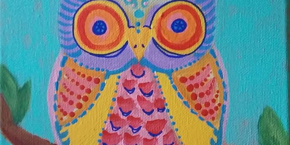 Corks & Canvas - Owl on canvas