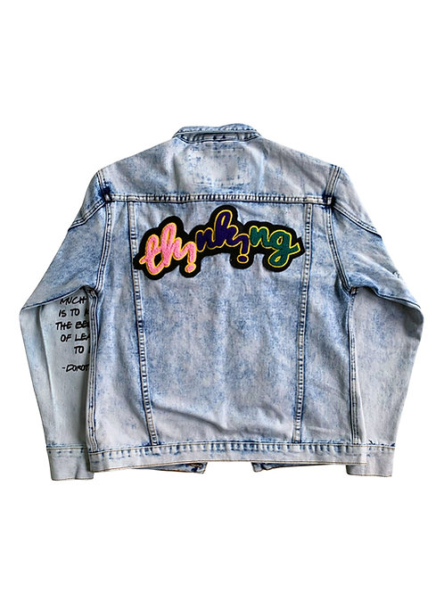 """Unisex Rolling Paper """"THiNKiNG"""" Denim Jacket **Extremely Exclusive"""