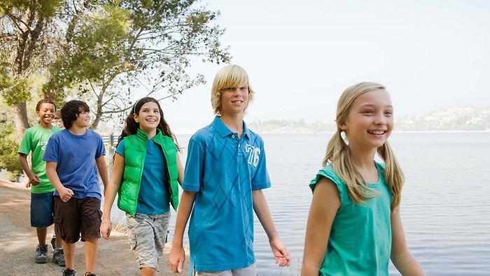 дети, подростки, озеро, поход, лето