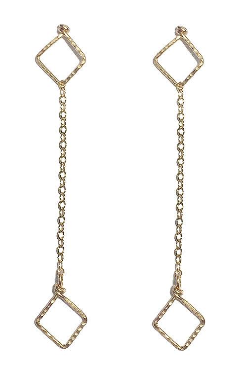 Geometric Drop Earrings - Diamond