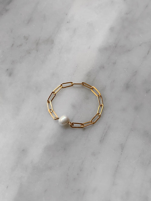 Tiny Pearl Chain Ring