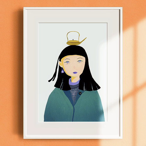 'Girl With A Pot' Illustration Print