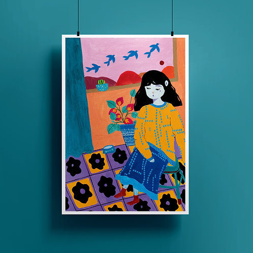 'By The Window' A4 Giclee Print