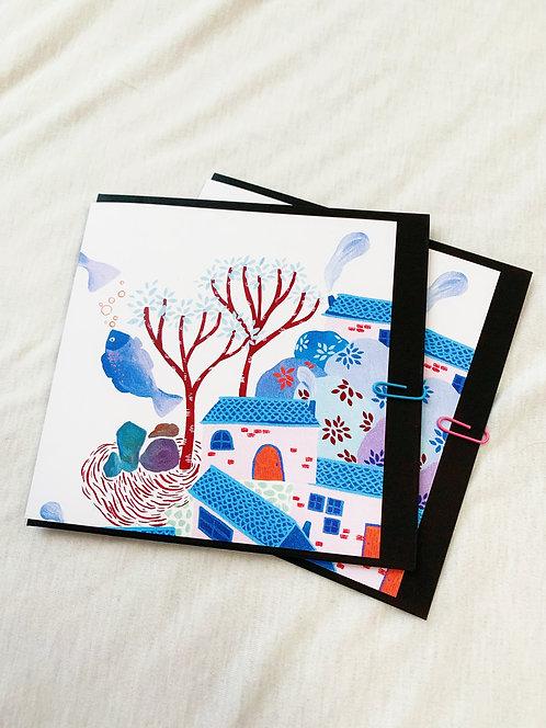 'A Village' Greeting Card