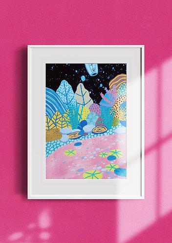 'Night At The Pond' Illustration Print