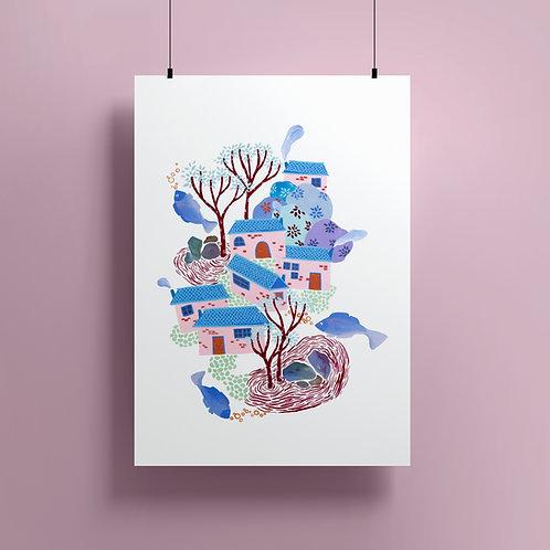 'A Village' Giclee print
