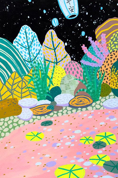 'Night At The Pond' Original Illustration