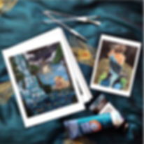 art by diana castillo, lions, waterfall, girl, peacock, paint, paint brushes, art prints, christian art, christia artist, acrylic paint,