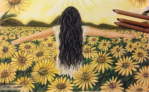 sunflower art, girl praising god, sunflower field, christian art, christian art work, paste chalk, pastel drawings, art by diana castillo, el paso artists, sunrays, sunflowers,
