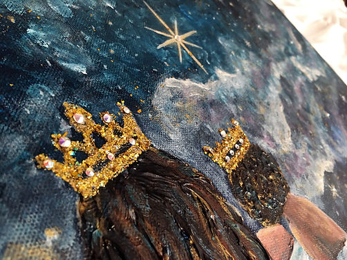 art by diana castillo, crowns, queen, prince, royal, daughers of god, sons of god, swarovski crystals, glitter art, mixed media art, acrylic paintin, mother and son, stars, single mother, christian art,