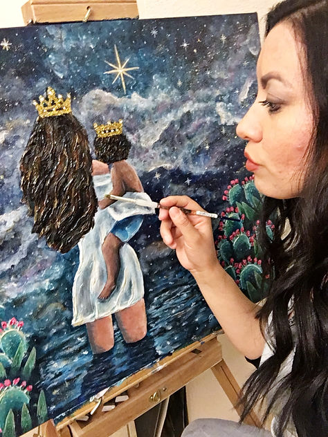 art by diana castillo, God is with us, single mother, mother and son, mixed media art, desert paintings, christian art, bible art, christian inspired paintings, glitter art, blinged art, fine art, art for sale, queen, prince, child of god, daughter of the king, son of the king, painting