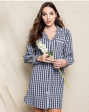 Navy checkered womens pajama set-intials