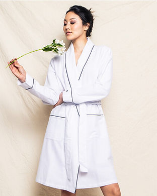 womens White Flannel Robe-matching famil