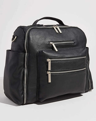 stylish men diaper bags-vegan black leat