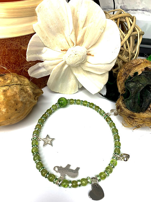 A Greener Day Postpartum Bracelet with Peridot Crystal
