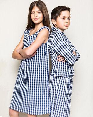 Navy checkered girls pajama set-intials