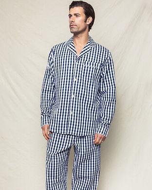 Navy checkered mens pajama set-intials o