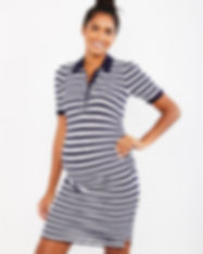 Puff Sleeve Striped Maternity Dress-mate