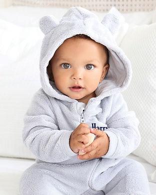 baby fleece onesie-personalized name-bab