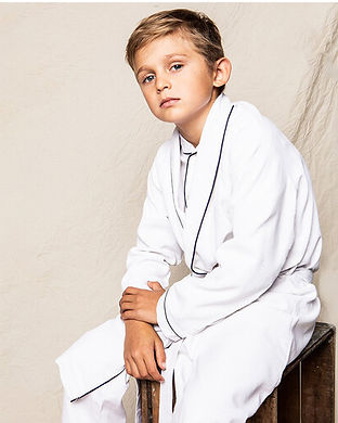 boys White Flannel Robe-matching family