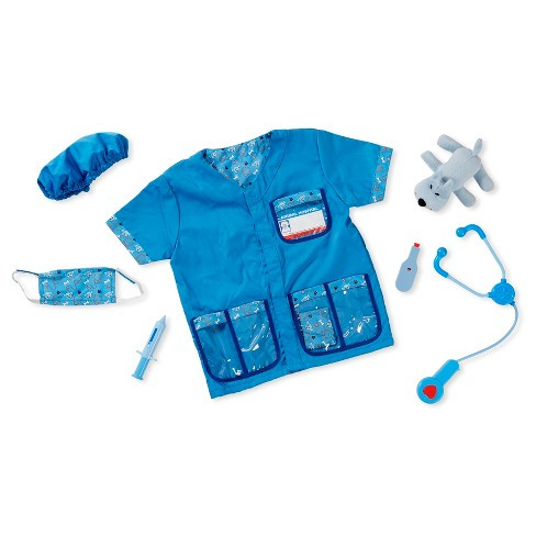 set includes a stethoscope with sound effects, syringe, thermometer, mask, cap, bandage, reusable veterinarian name tag and a little plush puppy patient