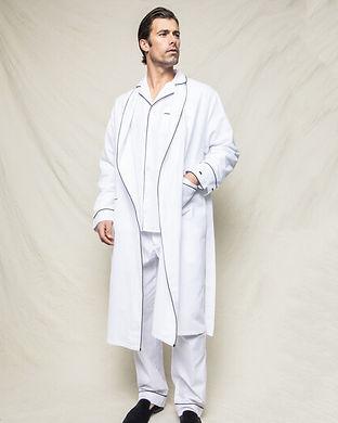 men White Flannel Robe-matching family r