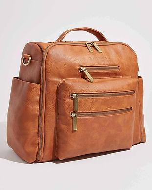 stylish men diaper bags-vegan brown leat