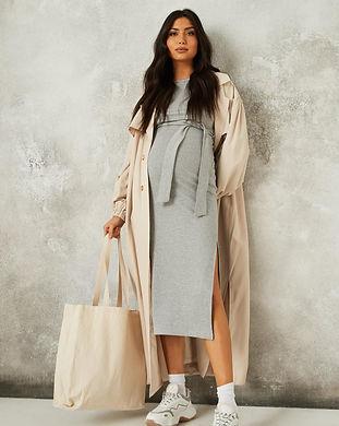 gray maternity long midi dress-gray mate
