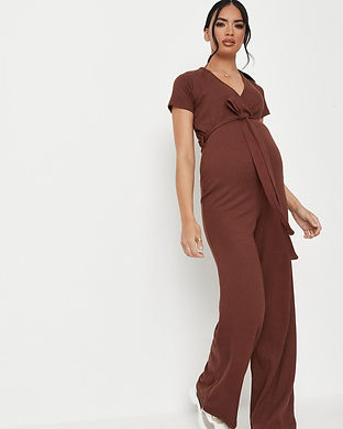 brown maternity jumpsuit-maternity jumps