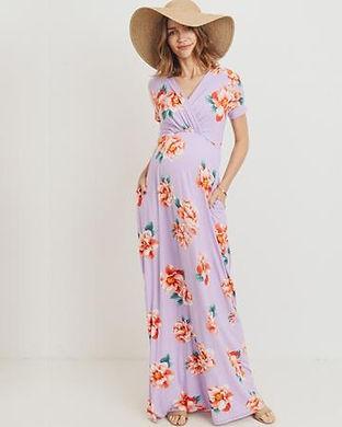 Floral Nursing Maxi Dress-floral materni