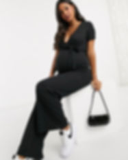 Black Maternity jumpsuit-Maternity overa