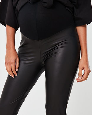 maternity black leather pants-fake leath