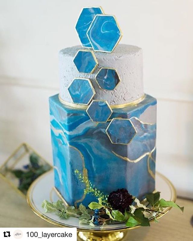 Modern Hexagon Wedding Cake