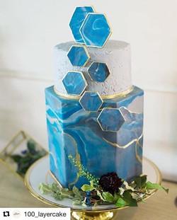 Modern Hexagon Wedding Cake