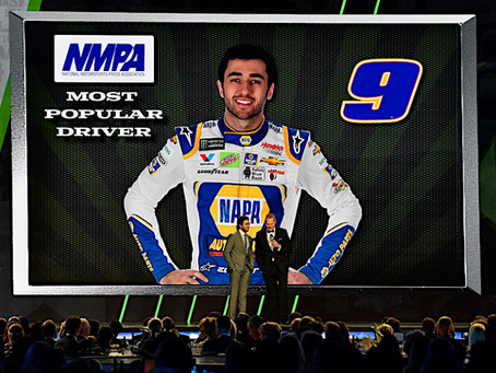 ELLIOTT WINS MOST POPULAR DRIVER AWARD IN NASCAR CUP SERIES