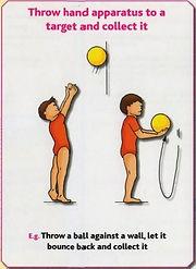 Gymnastics C6 - Throw hand apparatus to target & co
