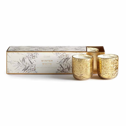 Illume Mini Luxe Sanded Mercury Votives Gift Set Winter White