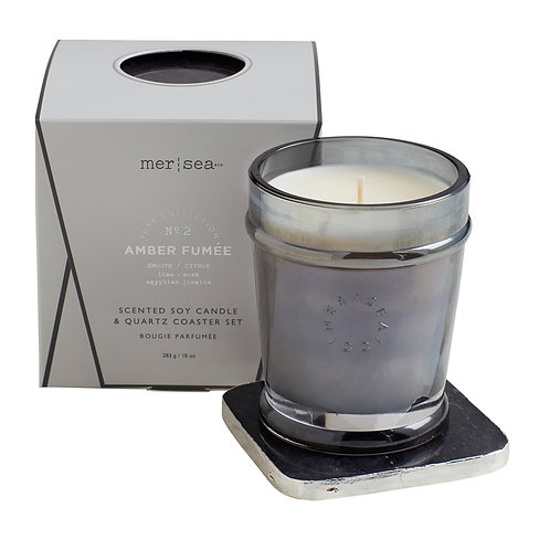 Mer-Sea Luxe 10oz Candle with Quartz Coaster - Amber Fumee