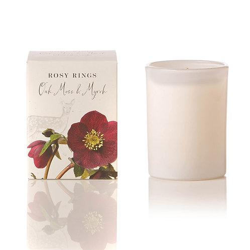 Rosy Rings Botanical Glass Candle 85hr -Oakmoss & Myrrh