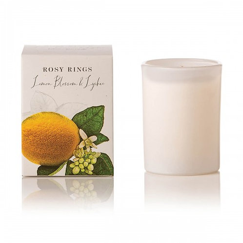 Rosy Rings Botanical Glass Candle - 85hr Lemon Blossom & Lychee