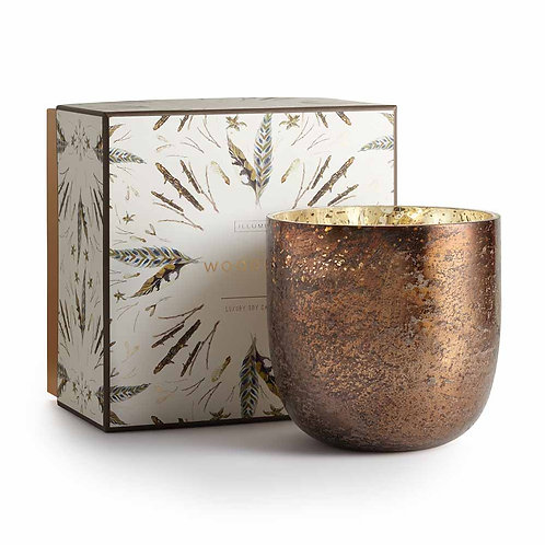 Illume Luxe Sanded Mercury Glass 120 Hour Candle Woodfire