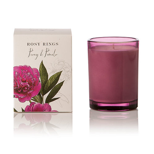 Rosy Rings Botanical Glass Candle 85hr - Peony & Pomelo